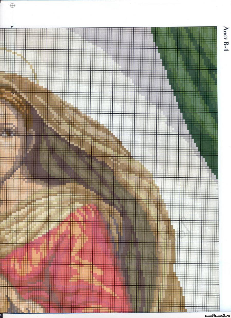 Схема Мадонна с ангелами вышивка крестиком 83