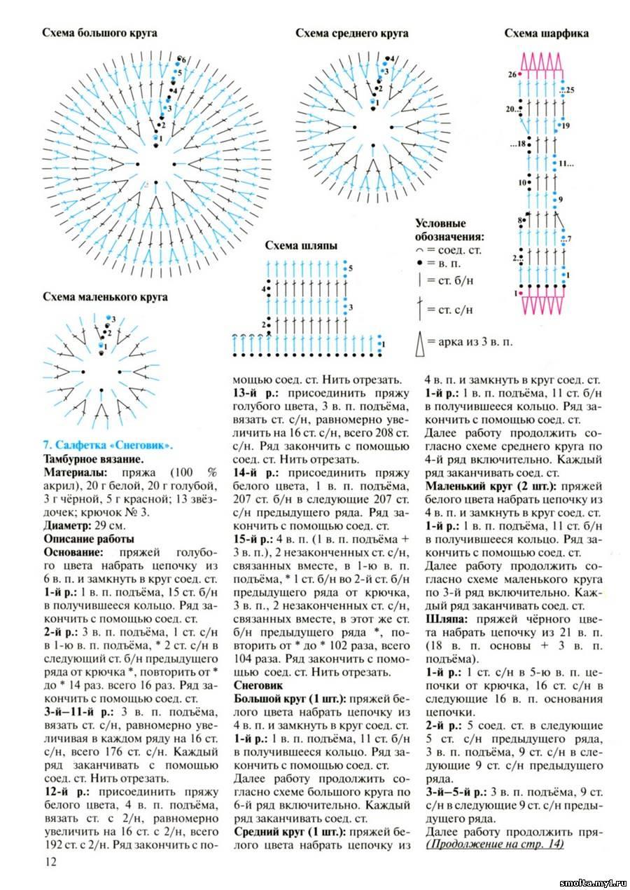 Вязаные снеговики крючком со схемами и описанием