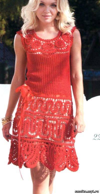 Схема вязания платья крючком.